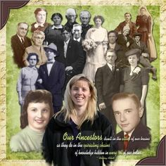Our Ancestors ~ Instead of scrapping a traditional family tree page, create a layout that shows an ongoing family connection. This awesome digi page uses individual photo extractions to visually show their strong family ties. The scrapper is in front, her mother and her ancestors to the left and her father and his ancestors to the right. What a great opening page idea for your heritage album!