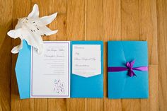Pocket Fold Wedding Invitations, blue and purple- except different blue