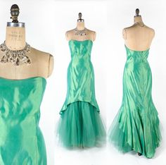 Vintage 80's/90's Green Iridescent Mermaid Glamour Gown // Green Strapless Prom Dress - sz L