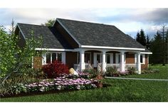 This little ranch rambler is a great set of small house plans!