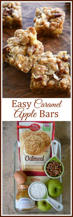 Easy Caramel Apple Bars! An easy and crowd-pleasing recipe that starts with cookie mix. The hardest part is waiting for them to cool long enough to cut! | homeiswheretheboatis.net #fall #baking