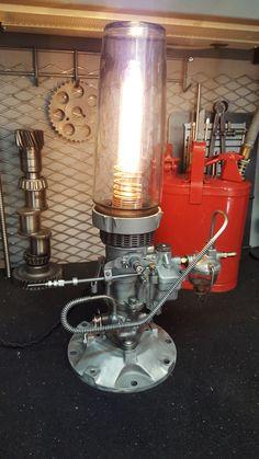Industrial Lighting, Vintage Lighting, Cool Lighting, Car Crafts, Driftwood Chandelier, Car Part Furniture, Old Sewing Machines, Steampunk Lamp, Bobbers