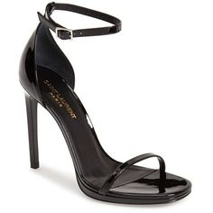 Women's Saint Laurent 'Jane' Ankle Strap Leather Sandal ($765) ❤ liked on Polyvore featuring shoes, sandals, heels, black, heeled sandals, ankle strap heel sandals, black stilettos, black sandals y black strap sandals