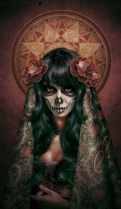 catrina (mexican skull) Art Print by msbarrons Sugar Skull Mädchen, Sugar Skull Makeup, Sugar Skull Tattoos, Sugar Skull Artwork, Day Of The Dead Artwork, Day Of The Dead Skull, Katrina Mexicana, Dark Fantasy Art, Dark Art