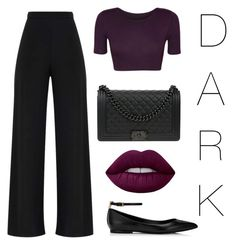 """""""dark"""" by cmpssnflwr ❤ liked on Polyvore featuring WearAll, Lime Crime, Chanel, classic, purple, black, Dark and disdark"""