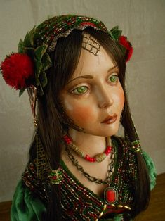 OOAK ART doll Girl fantasy bust Art doll handmade interior | Etsy Polymer Clay Art, Handmade Polymer Clay, Realistic Dolls, Garden Items, Amazing Decor, Textile Jewelry, Fairy Art, Interesting Faces, Art Dolls