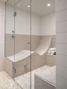 An S shaped seat turns your shower into a steam room if you want to lay down