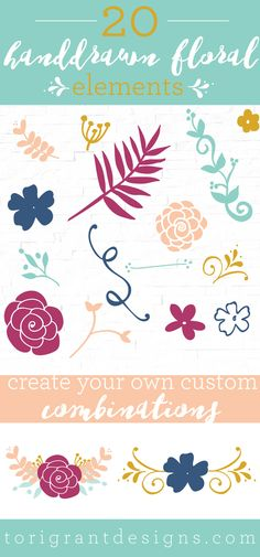 20 Free Handdrawn Floral Elements - Tori Grant Designs