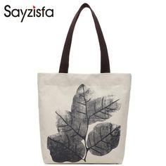 Sayzisfa Brand New Women Canvas Bags 2017 Ladies Shoulder Shopper Bag Prints Beach Bags Tote Casual Shopping Handbags Bolsa T368 #Affiliate