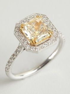 white and yellow square diamond ring