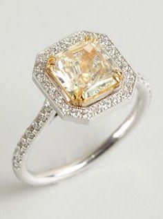 white and yellow square diamond ring