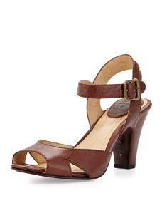 Skyler Seamed Leather Sandal, Redwood