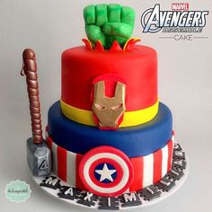 Looking for cake decorating project inspiration? Avengers Birthday Cakes, 4th Birthday Cakes, Superhero Birthday Party, Bolo Flash, Flash Cake, Pastel Avengers, Bolo Da Minnie Mouse, Marvel Cake, Avenger Cake
