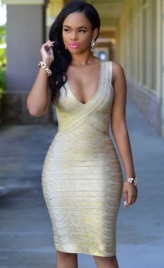 $159.99 Gold Foil Midi Luxe Bandage Dress