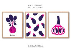 Beetroot Print, Eggplant Print, Garlic Print, Vegetable illustration, Vegetable art, Fruit illustration,Kitchen wall art