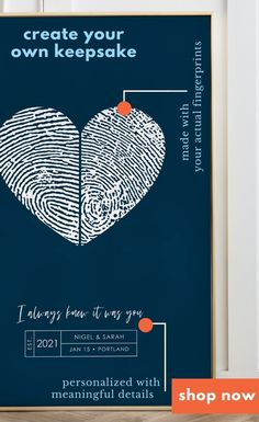 Personalized wedding guest book alternative made with your own fingerprints. Custom color choices, keepsake quality guestbook poster or canvas sign in board.