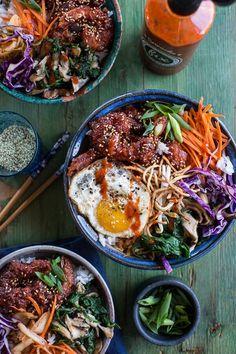 Korean Style Fried Shrimp Rice Bowls with Kimchi + Crunchy Noodles