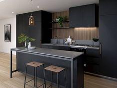 déco minimaliste dans une cuisine ouverte au plafond blanc suspendu avec éclairage led, cuisine équipée