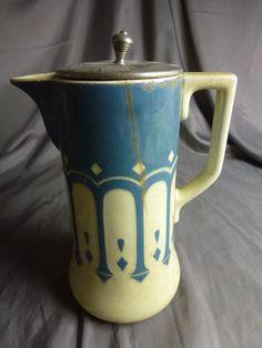 Kanne Jugendstil Keramik Kakaokanne Villeroy & Boch ca. 22,5 cm hoch / S69.2