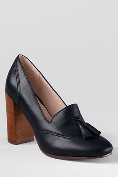 $99, Black Leather Tassel Pumps: Lands' End Stowe High Heel Tassel Shoes. Sold by Lands' End. Click for more info: https://lookastic.com/women/shop_items/109604/redirect