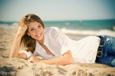 Senior photos on the Beach in Grand Haven Michigan