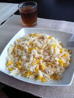 Salteado de arroz con gambas al ajillo
