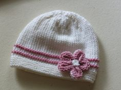 Hand Knit Baby Girl's Beanie Newborn to 3 months on Etsy, $15.00