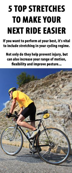 .Top 5 stretches to make your next ride easier. #cycling #bike #stretching #bicycle