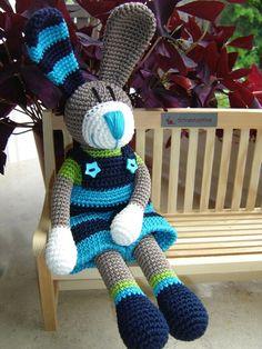 Tom, the crochet Bunny. 24.00E for item 5/14.