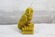Beeswax candle owl barn owl animal realistic by MountainHoneyArt