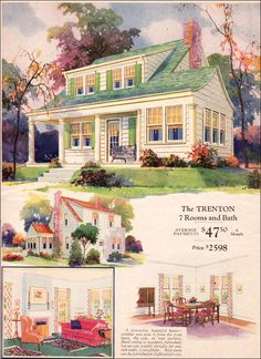 1930 Montgomery Ward Trenton ~ The Trenton plan has considerable appeal even now. It has a traditional appearance but is asymmetrical, which is a departure from the expected symmetry. An unusual curved gable roof and lots of six-over-one light windows promise a light, airy interior.  The open floorplan has a lovely small sunroom that is accessible from both the front porch and livingroom. With three bedrooms and bath on the second floor this would be a pretty, comfortable home.