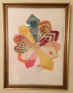 Frugal home decorating: Framing vintage handkerchiefs Vintage handkerchief art. Looking for inspiration for something to do with the pretty vintage hankies I acquired. Vintage Crafts, Vintage Decor, Vintage Stuff, Vintage Art, Rose Shabby Chic, Fabric Crafts, Sewing Crafts, Handkerchief Crafts, Craft Projects