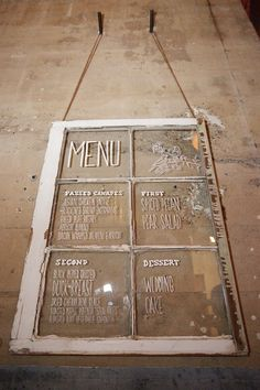 LOVE this 6-pane wood window Wedding menu repurpose!