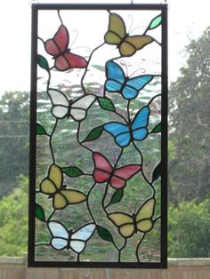 Butterflies Stained Glass Panel by DianeRinebold on Etsy