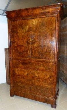 French Louis Philippe Burled Linen Press