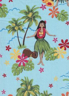 80pa 'a 'aina Tropical Hawaiian Vintage Hula Girls on a cotton Hawaiian apparel fabric.  BarkclothHawaii.com