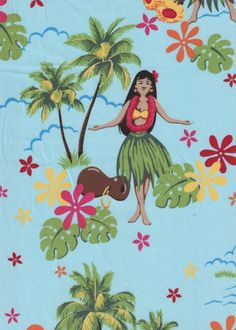 80pa 'a 'aina Tropical Hawaiian Vintage Hula Girls on a cotton Hawaiian apparel fabric.  BarkclothHawaii.com