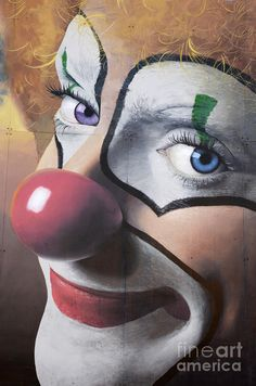 Clown Mural Photograph by Bob Christopher - Clown Mural Fine Art Prints and Posters for Sale Scary Clowns, Creepy, Mime, Clown Paintings, Pierrot Clown, Es Der Clown, Circus Clown, Circus Theme, Circus Party
