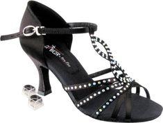 Black Satin 7 M US Heel 2.5 Inch Very Fine Womens Salsa Ballroom Tango Dance Shoes Style 1671B Bundle with Plastic Dance Shoe Heel Protectors