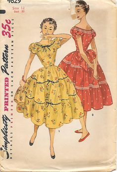 Simplicity 4629 - 1950s Peasant Dress with Tiered Skirt Sewing Pattern, yellow red floral color illustration puff sleeves bow back belt off shoulder vintage fashion party dress square dance picnic day offered on Etsy by GrandmaMadeWithLove