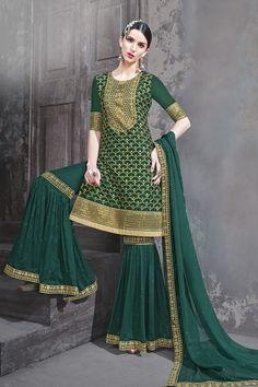 15a41469106986 Buy Dark Green Georgette Semi Stitch Salwar Kameez Pakistani Outfits,  Wedding Suits, Salwar Kameez