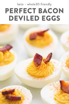These deviled eggs are simply perfect. They're easy but a couple special ingredients (hello: butter and bacon) take them up a notch. They're keto, low carb, Whole30, and paleo, but most of all, they're the best deviled eggs I've ever had! #lowcarb #keto