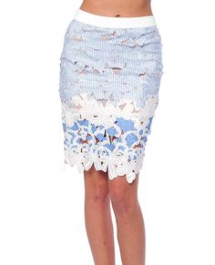 Cocktail Soiree Lace Pencil Skirt in Clothes (Blue stripes and solid blue paints on white crochet lace pencil skirt)