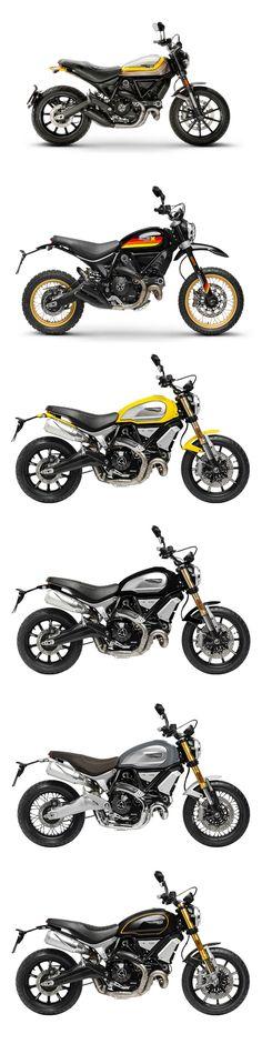 "Ducati Scrambler - 2018 New additions to the Scrambler family. Top to bottom -  Mach 2.0 Desert Sled Black Edition Scrambler 1100 [Yellow]        ""         1100 [Black]         ""         1100 [Special]        ""         1100 [Sport]"