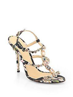 Dolce & Gabbana Jeweled Floral-Print Sandals