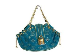 1c5d482f4bbd Louis Vuitton Theda GM Handbag Extraordinary Turquoise Blue Louis Vuitton
