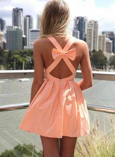 Light Orange Sleeveless Mini Dress with Open Cross Bow Back,  Dress, mini dress  bow back, Chic