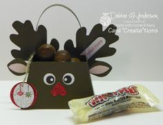 Stampin ' Up! Reindeer...uses purse die, autism accent leaves dies (retired) could use Womderfall Framelets instead...Glimmer DSP punched heart for the nose...just too cute!!!