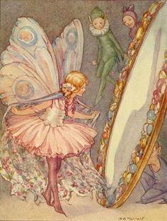 Margaret Tarrant, fairy in the mirror illustration Fairy Dust, Fairy Land, Fairy Tales, Photowall Ideas, Illustration Art, Illustrations, Kobold, Fairy Pictures, Arte Obscura