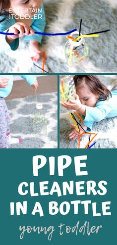 Try this low-prep activity to entertain your toddler and build fine motor skills. Pipe cleaners in a bottle is a simple play activity that will challenge young kids' hand-eye coordination and fine motor skills. Toddlers that enjoy posting activities and enveloping or enclosing schemas will love this play activity. #entertainyourtoddler #finemotorskills #toddleractivities #activitiesforkids #indooractivities #indoorplay #openendedplay
